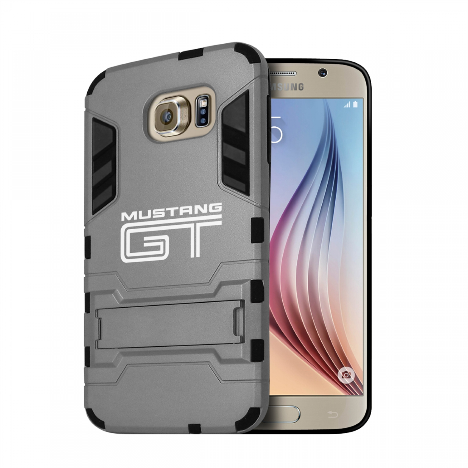 Ford Mustang GT Samsung Galaxy S6 Shockproof TPU ABS Hybrid Gray Phone Case