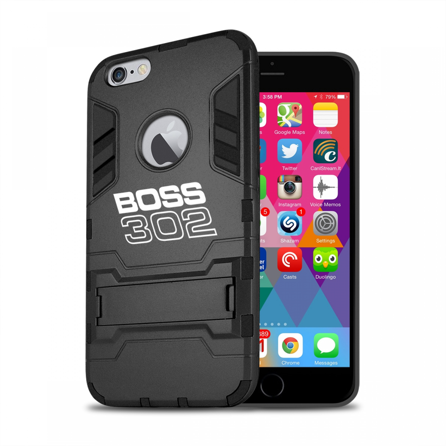 Ford Mustang Boss 302 iPhone 6 6s Shockproof TPU ABS Hybrid Black Phone Case