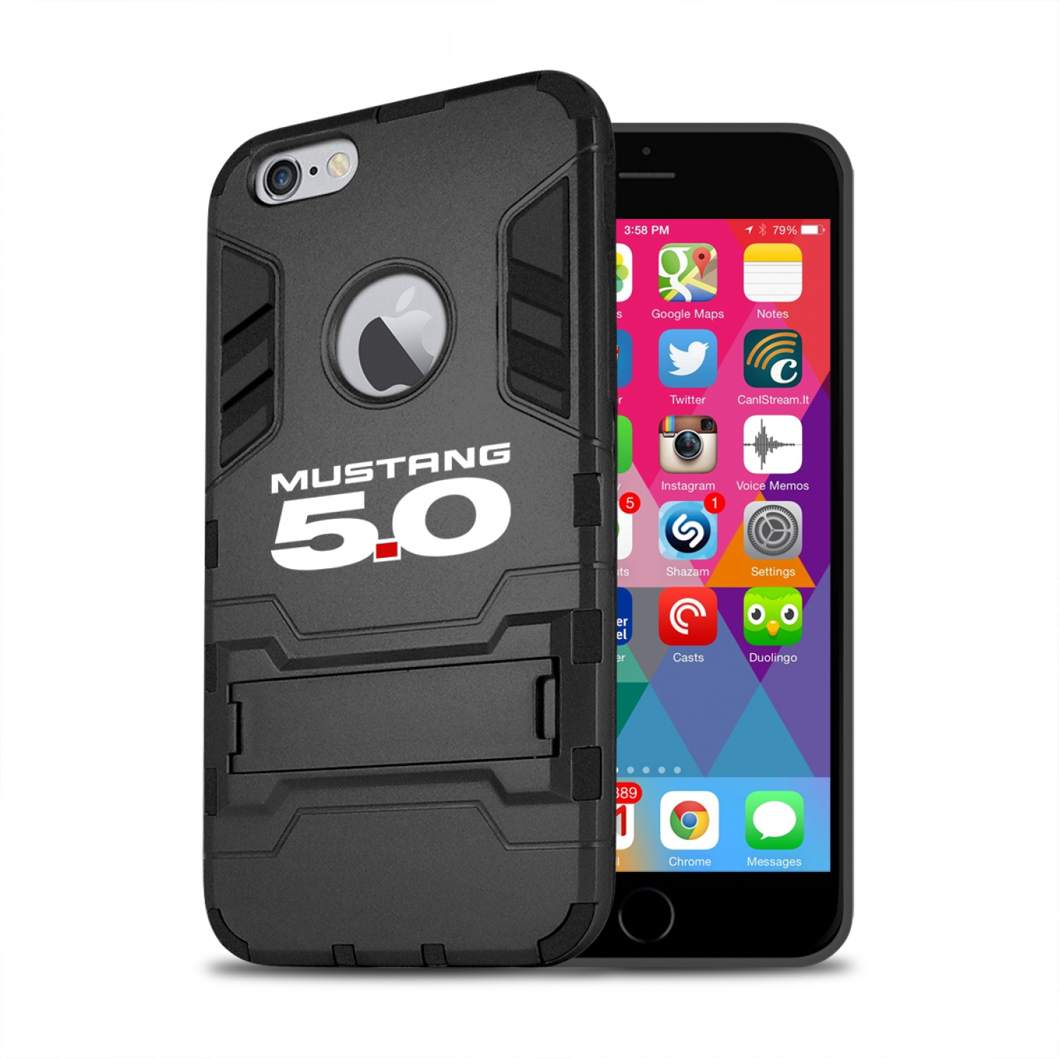 Ford Mustang 5.0 iPhone 6 6s Shockproof TPU ABS Hybrid Black Phone Case