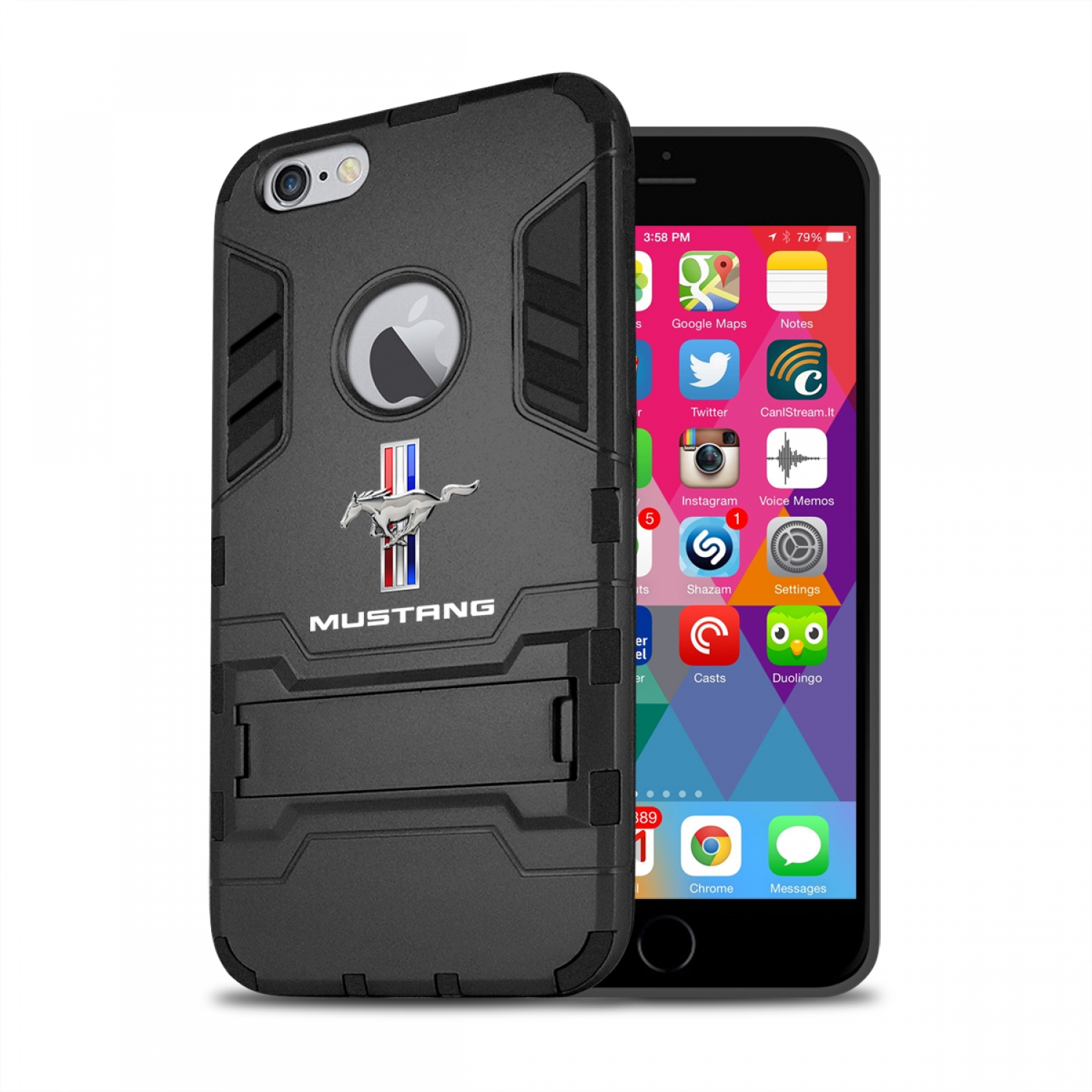 Ford Mustang Tri-Bar iPhone 6 6s Shockproof TPU ABS Hybrid Black Phone Case