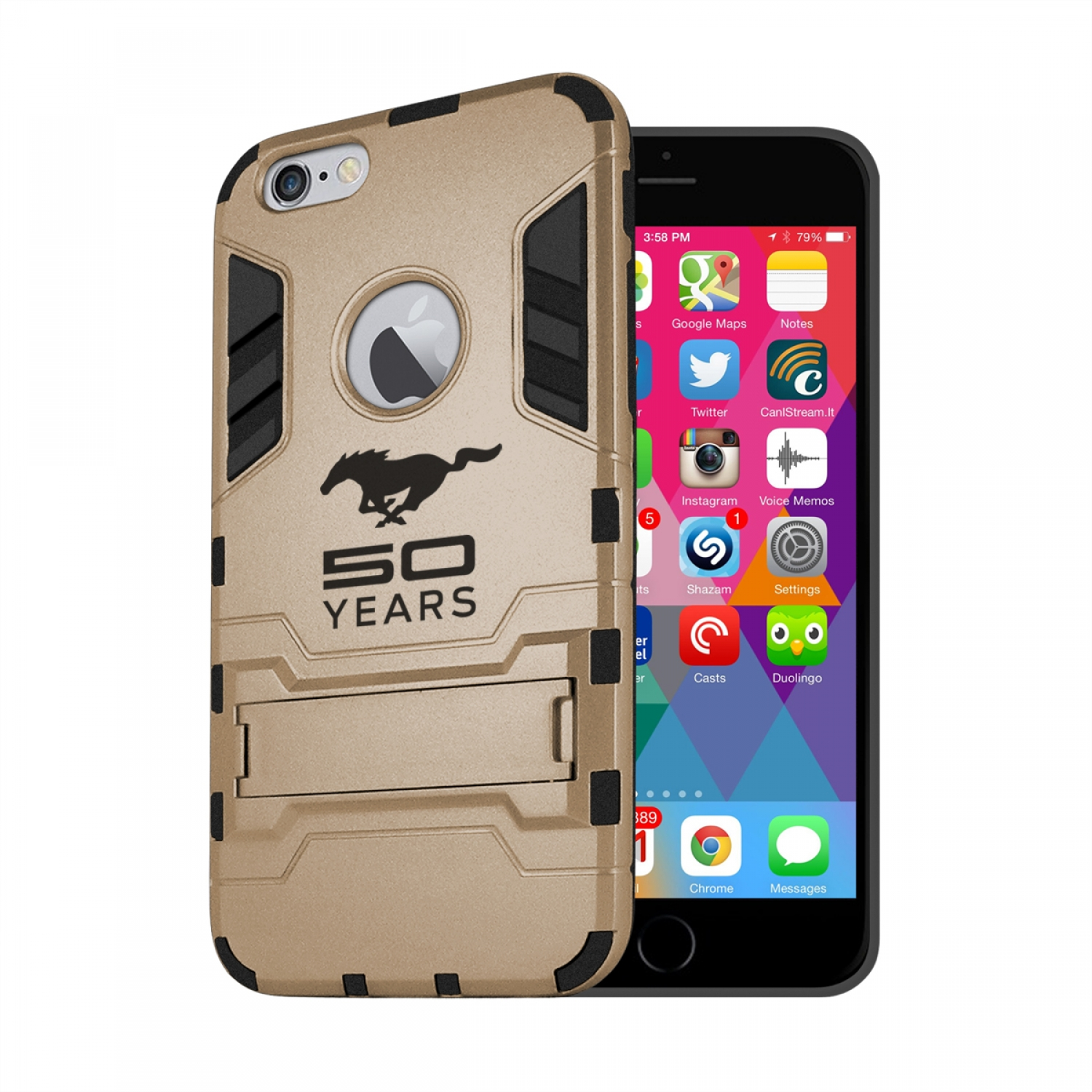 Ford Mustang 50 Years iPhone 6 6s Shockproof TPU ABS Hybrid Golden Phone Case