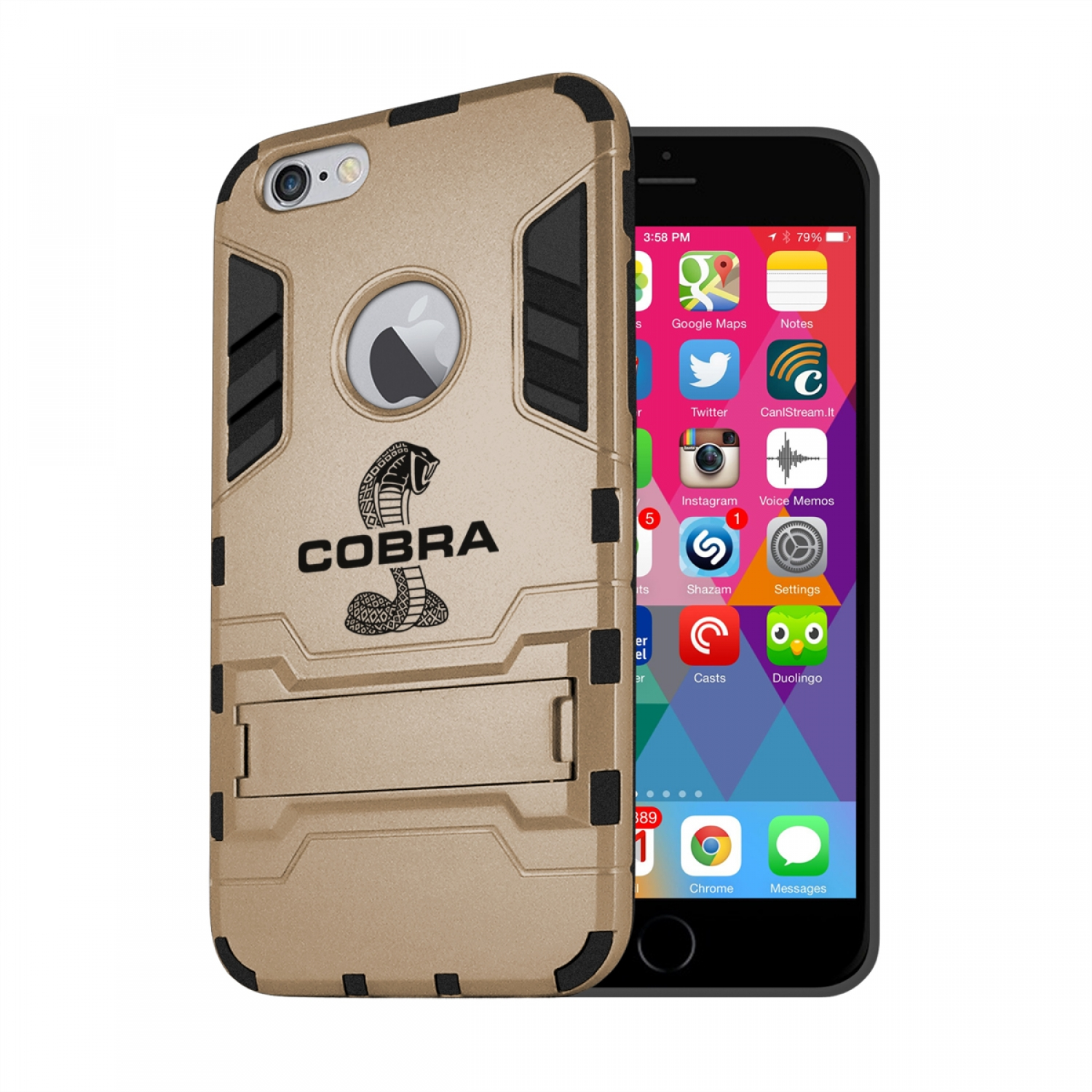 Ford Mustang Cobra iPhone 6 6s Shockproof TPU ABS Hybrid Golden Phone Case