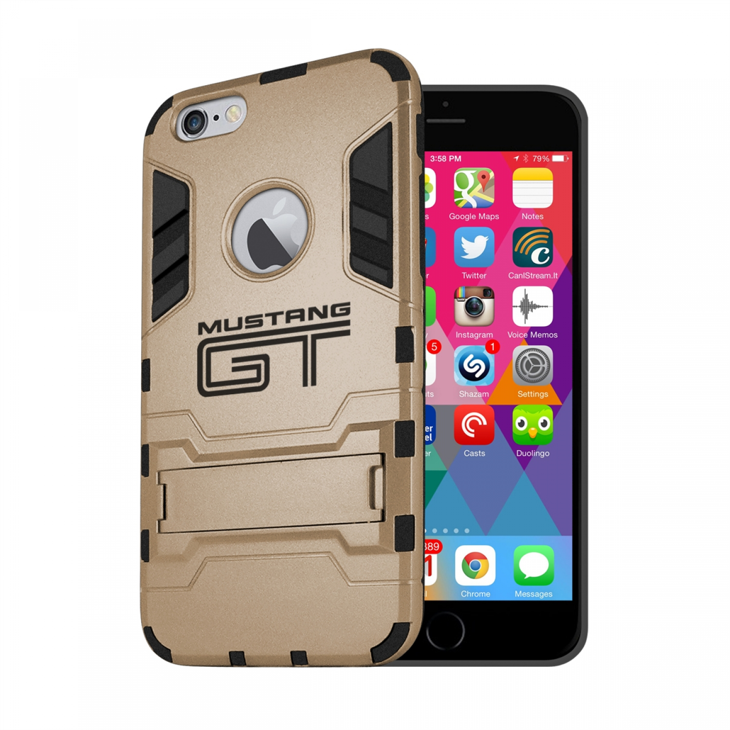 Ford Mustang GT iPhone 6 6s Shockproof TPU ABS Hybrid Golden Phone Case