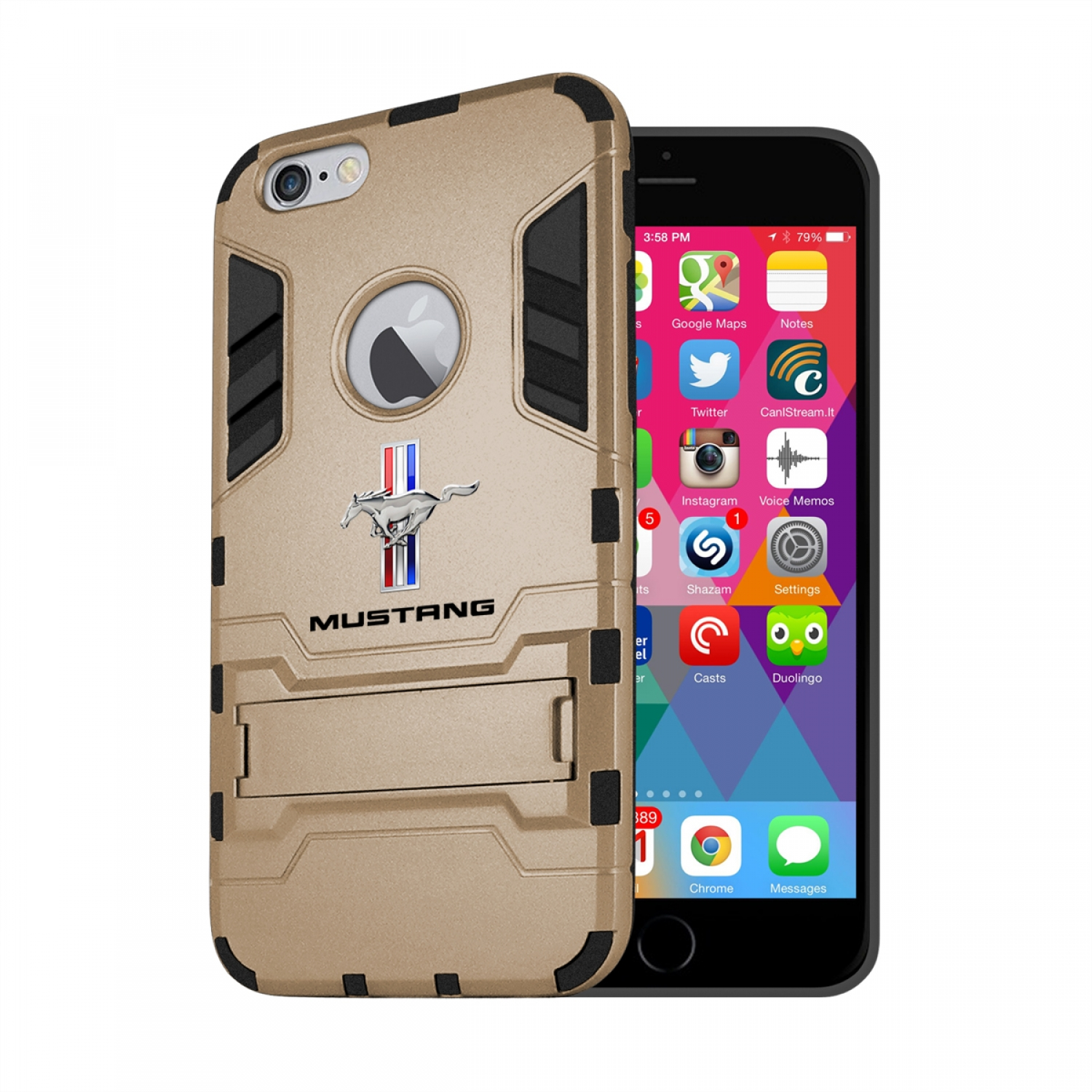 Ford Mustang Tri-Bar iPhone 6 6s Shockproof TPU ABS Hybrid Golden Phone Case
