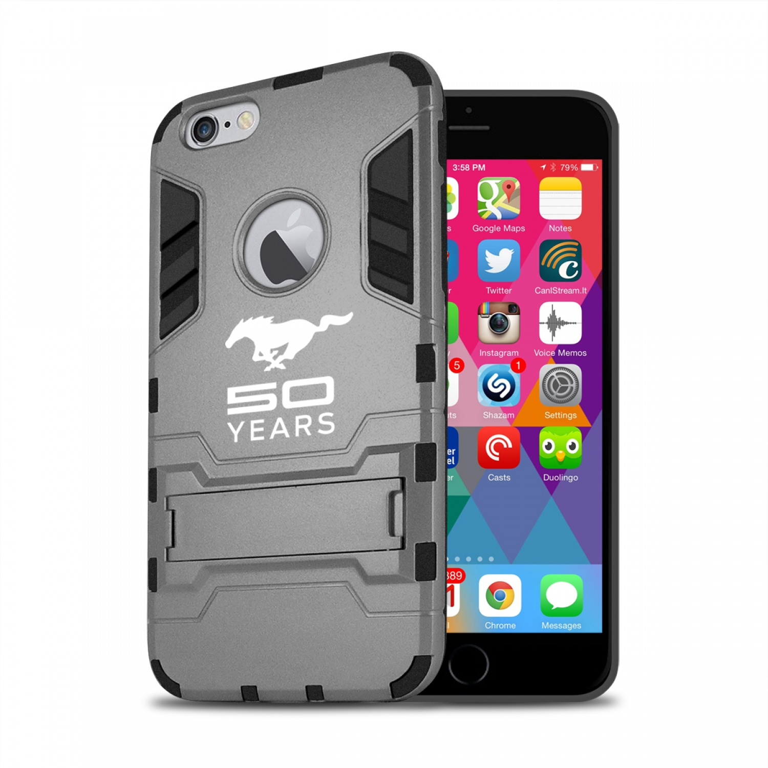 Ford Mustang 50 Years iPhone 6 6s Shockproof TPU ABS Hybrid Dark Gray Phone Case