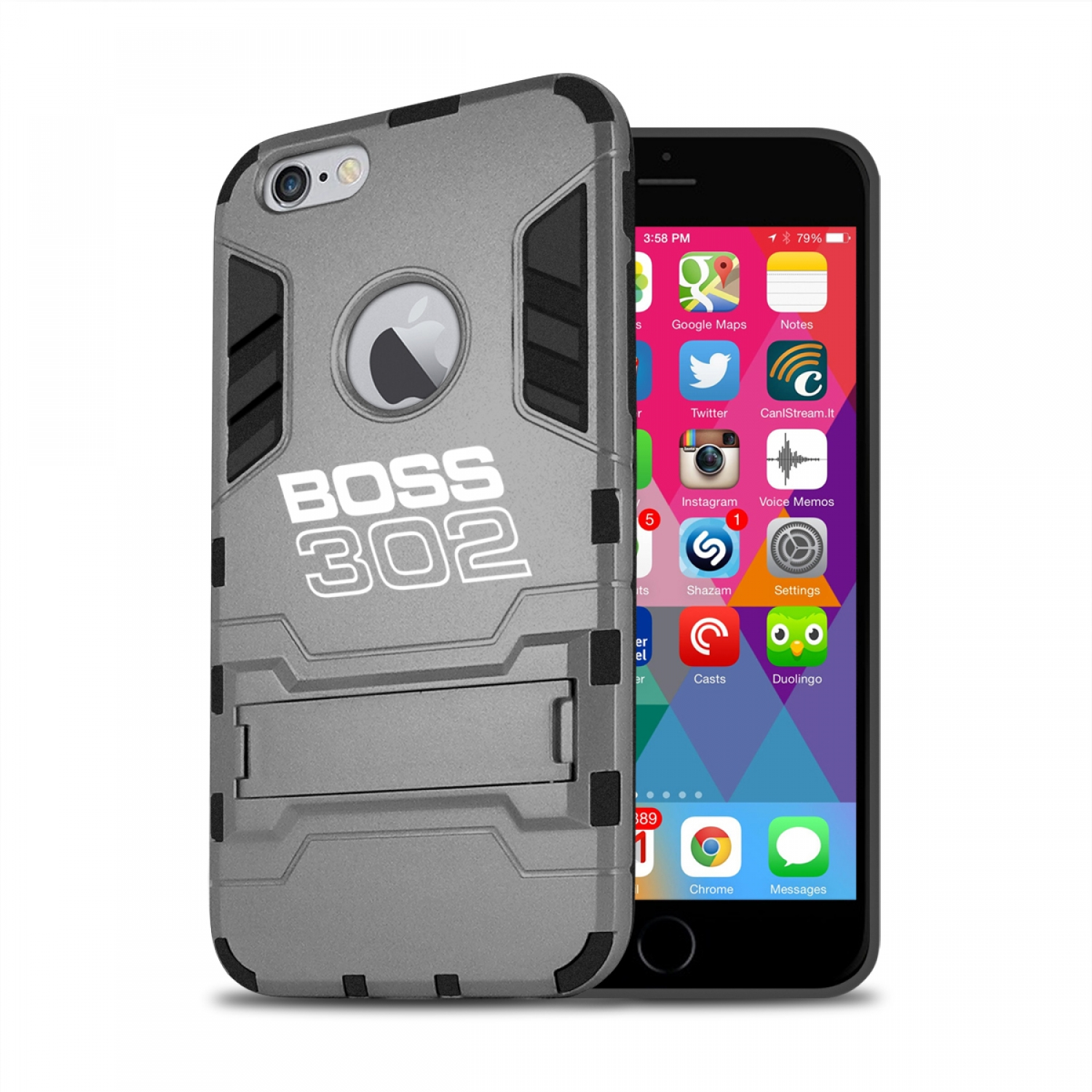 Ford Mustang Boss 302 iPhone 6 6s Shockproof TPU ABS Hybrid Dark Gray Phone Case