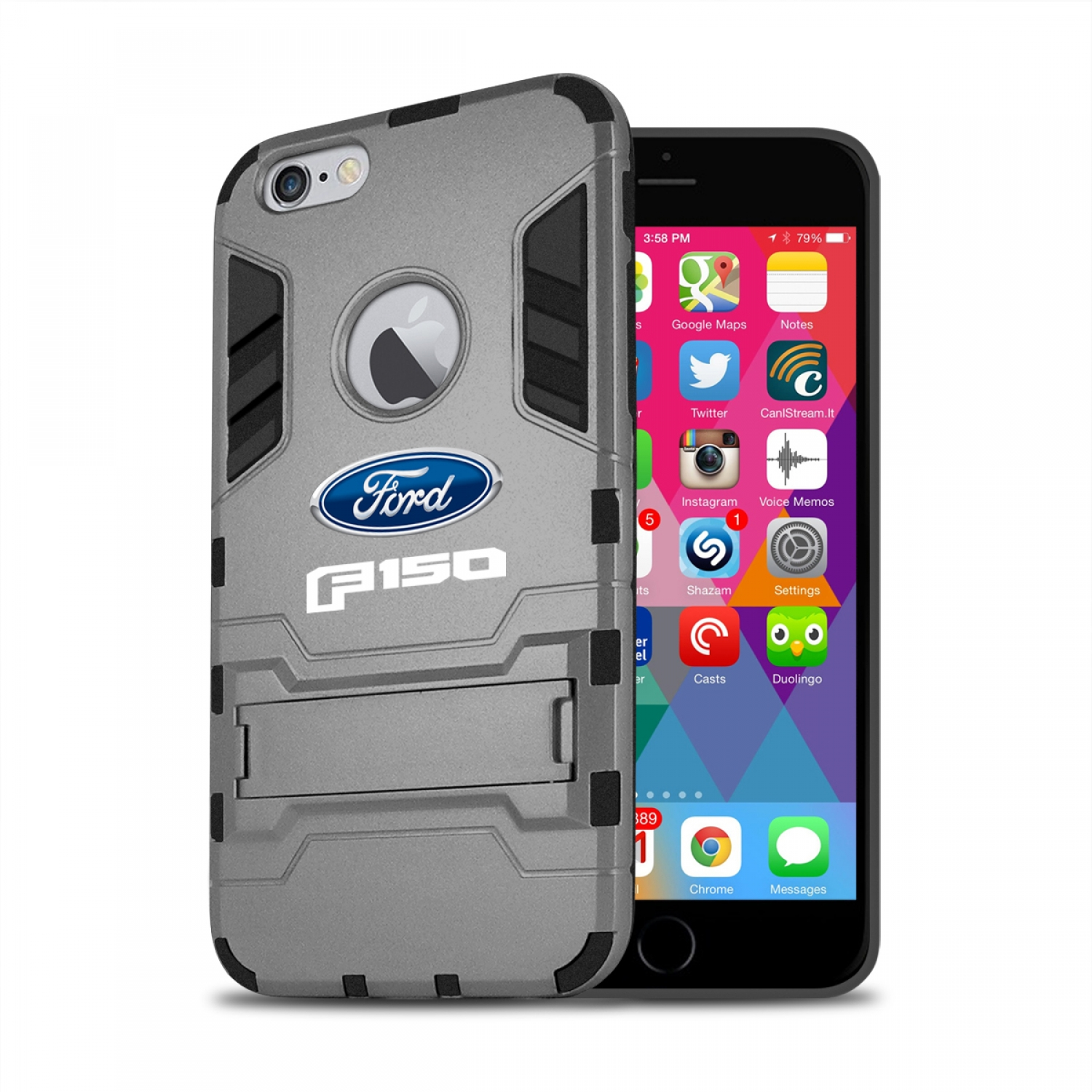 Ford F-150 2015 up iPhone 6 6s Shockproof TPU ABS Hybrid Dark Gray Phone Case