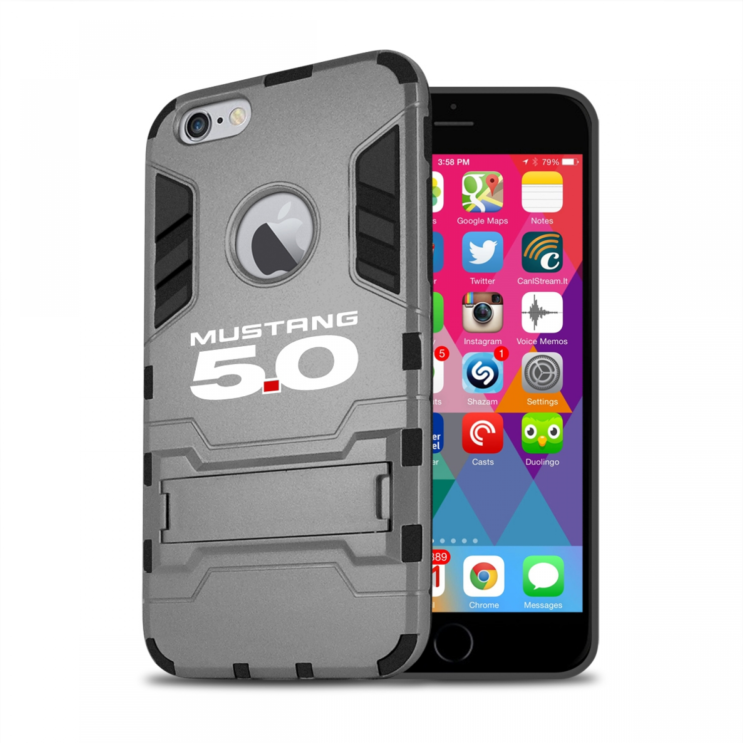 Ford Mustang 5.0 iPhone 6 6s Shockproof TPU ABS Hybrid Dark Gray Phone Case