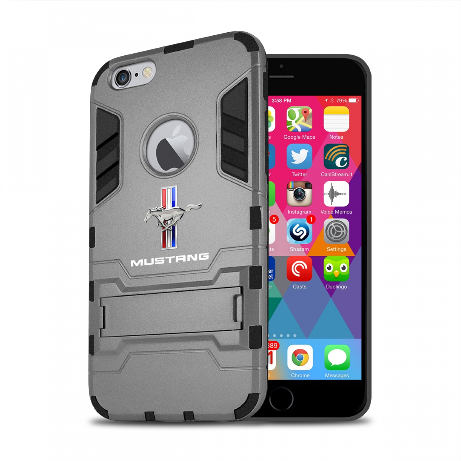 Ford Mustang Tri-Bar iPhone 6 6s Shockproof TPU ABS Hybrid Dark Gray Phone Case
