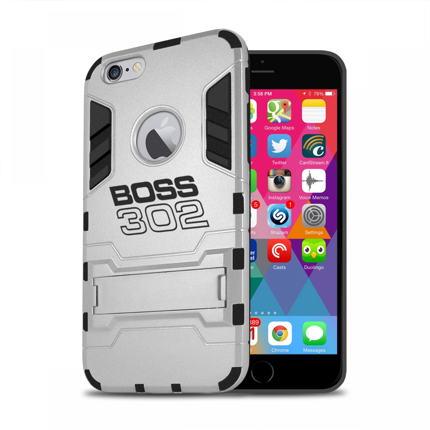 Ford Mustang Boss 302 iPhone 6 6s Shockproof TPU ABS Hybrid Silver Phone Case