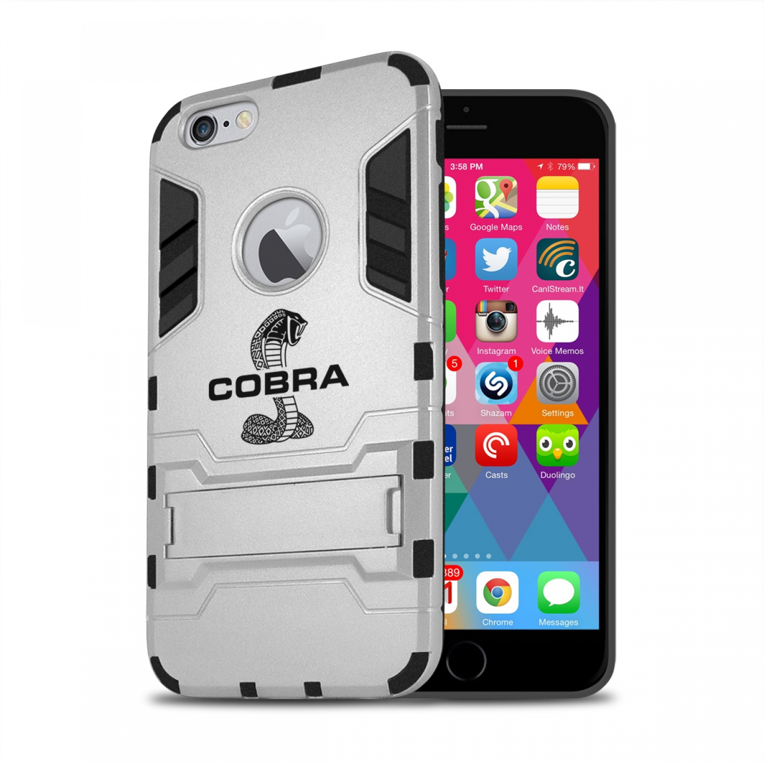 Ford Mustang Cobra iPhone 6 6s Shockproof TPU ABS Hybrid Silver Phone Case