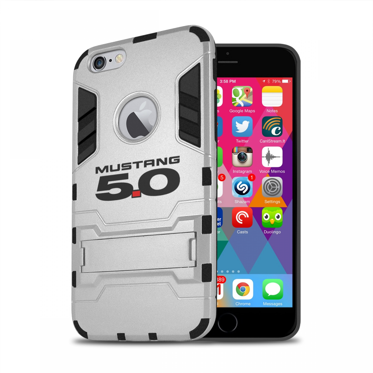 Ford Mustang 5.0 iPhone 6 6s Shockproof TPU ABS Hybrid Silver Phone Case