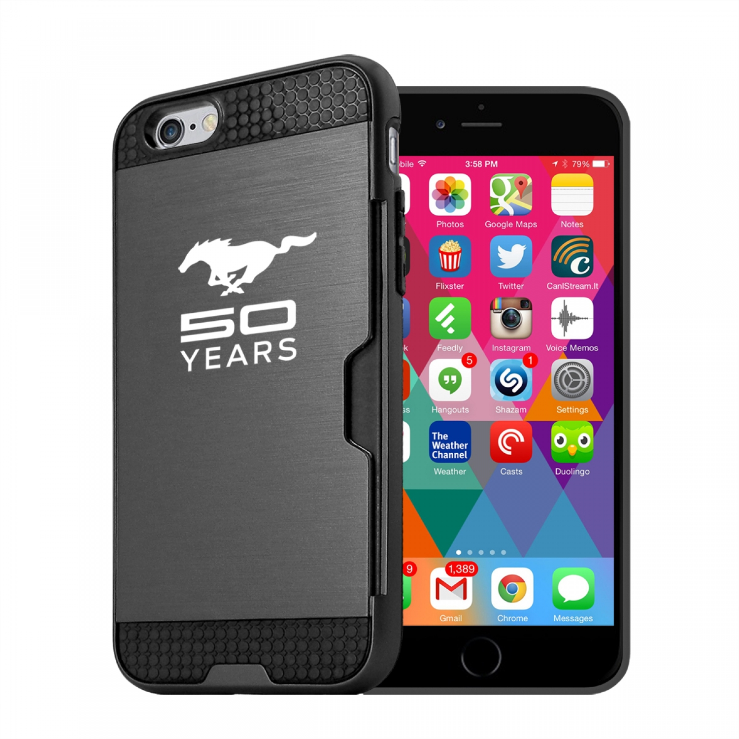 Ford Mustang 50 Years iPhone 6 6s Ultra Thin TPU Black Phone Case with Credit Card Slot Wallet