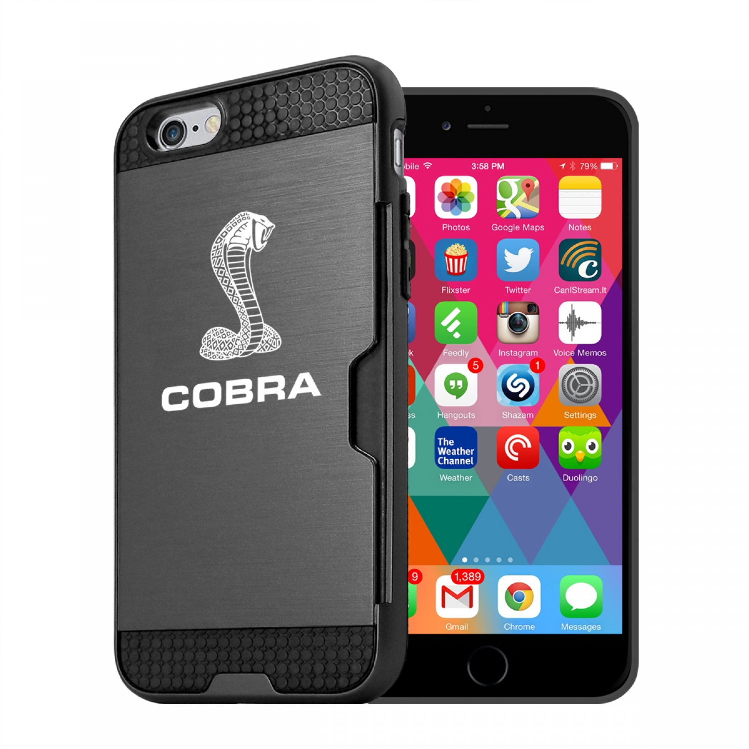 Ford Mustang Cobra iPhone 6 6s Ultra Thin TPU Black Phone Case with Credit Card Slot Wallet