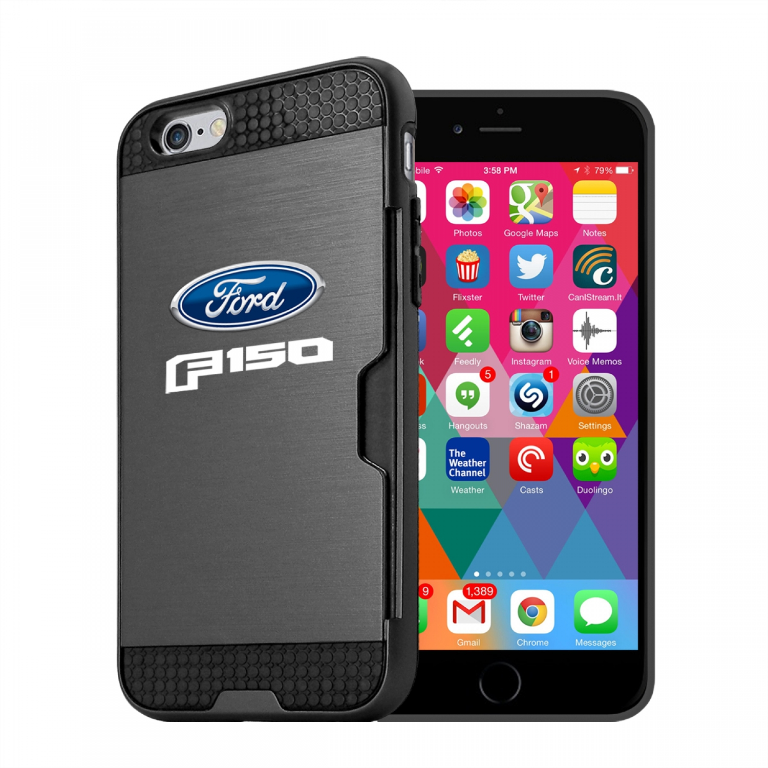 Ford F-150 2015 up iPhone 6 6s Ultra Thin TPU Black Phone Case with Credit Card Slot Wallet
