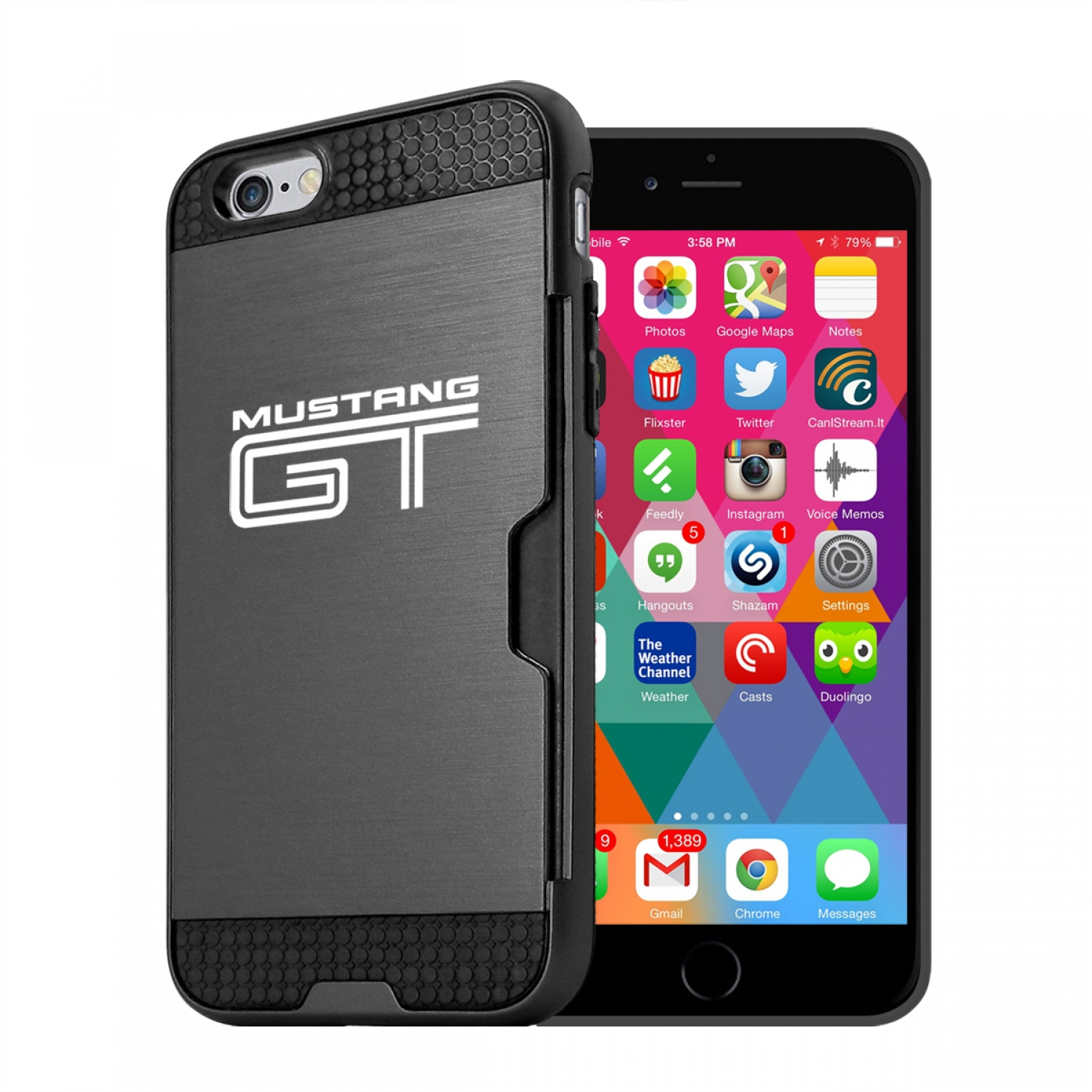 Ford Mustang GT iPhone 6 6s Ultra Thin TPU Black Phone Case with Credit Card Slot Wallet
