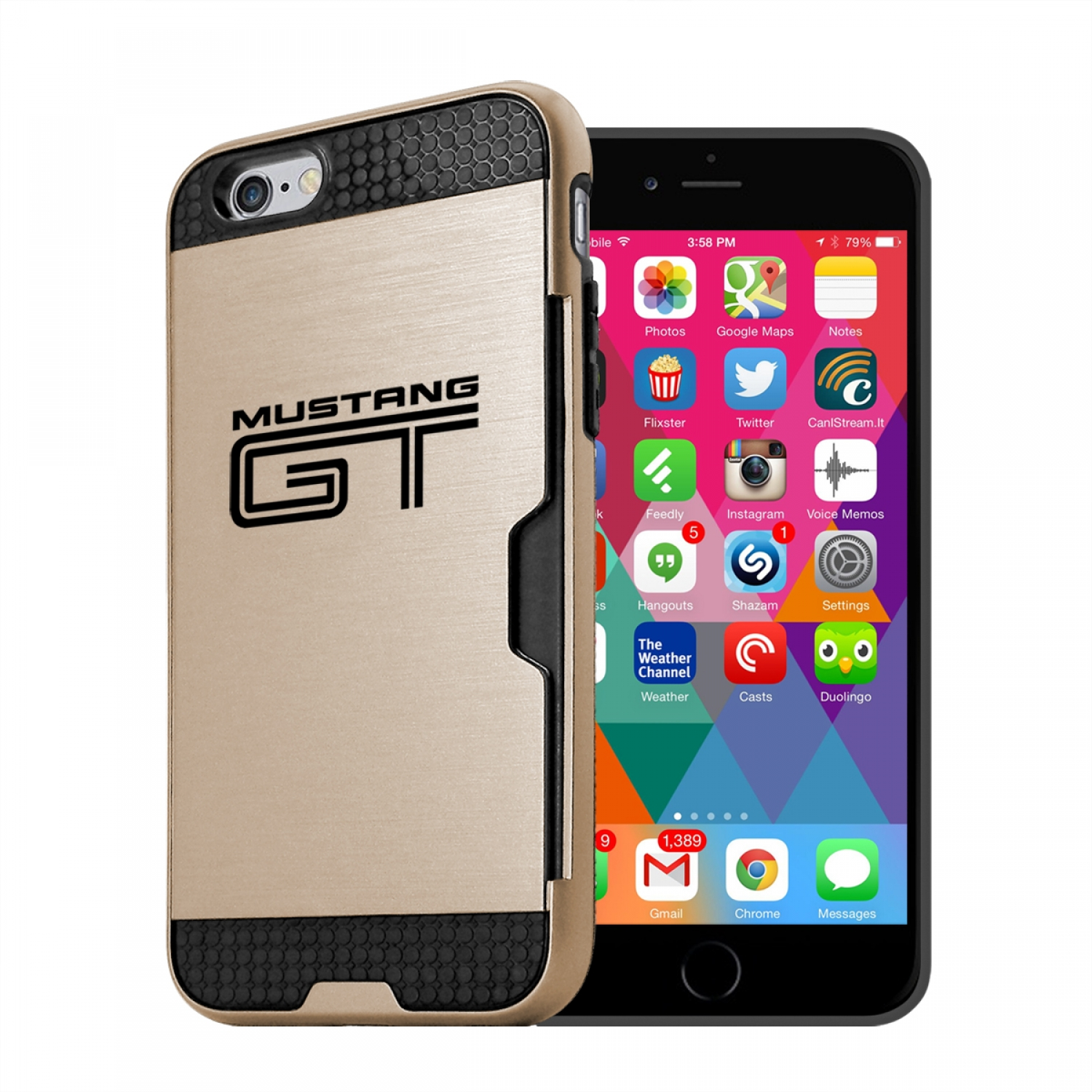 Ford Mustang GT iPhone 6 6s Ultra Thin TPU Golden Phone Case with Credit Card Slot Wallet
