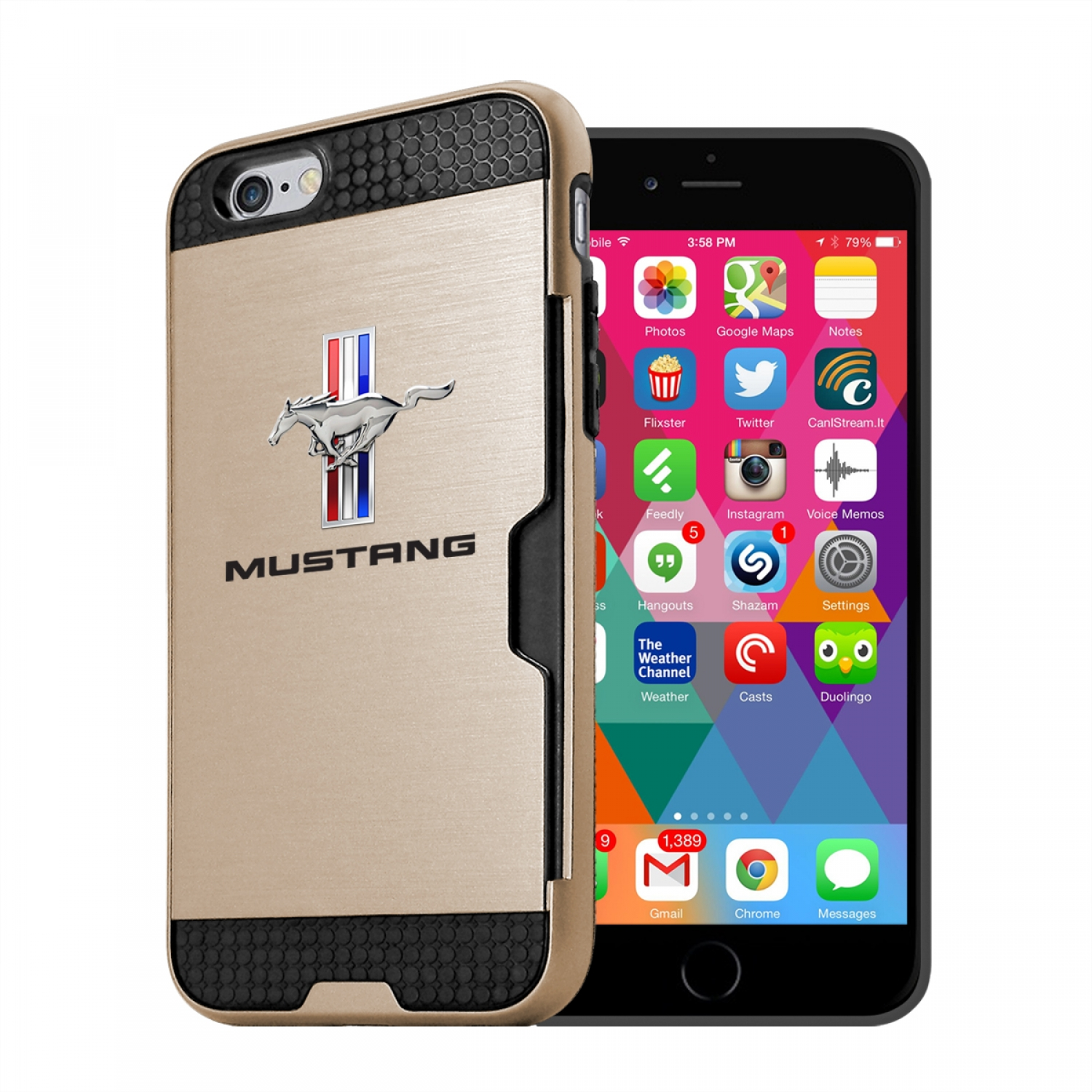 Ford Mustang Tri-Bar iPhone 6 6s Ultra Thin TPU Golden Phone Case with Credit Card Slot Wallet