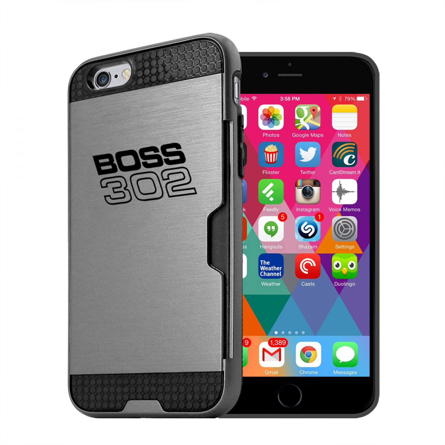 Ford Mustang Boss 302 iPhone 6 6s Ultra Thin TPU Silver Phone Case with Credit Card Slot Wallet