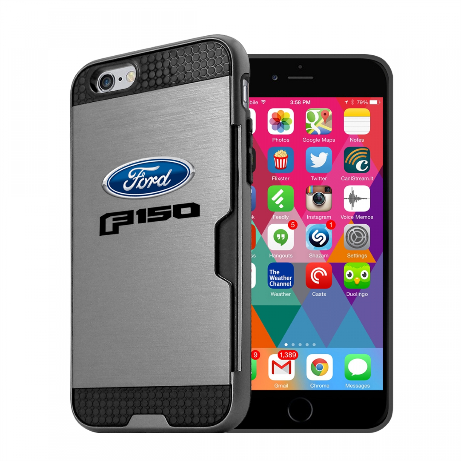 Ford F-150 2015 up iPhone 6 6s Ultra Thin TPU Silver Phone Case with Credit Card Slot Wallet