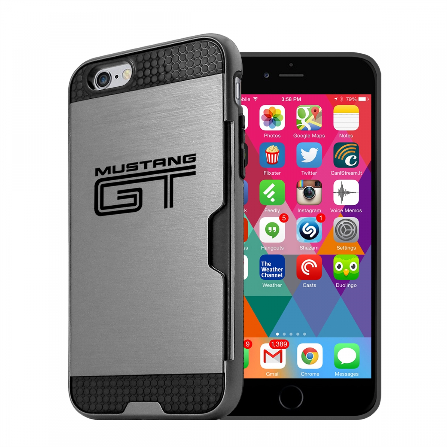 Ford Mustang GT iPhone 6 6s Ultra Thin TPU Silver Phone Case with Credit Card Slot Wallet