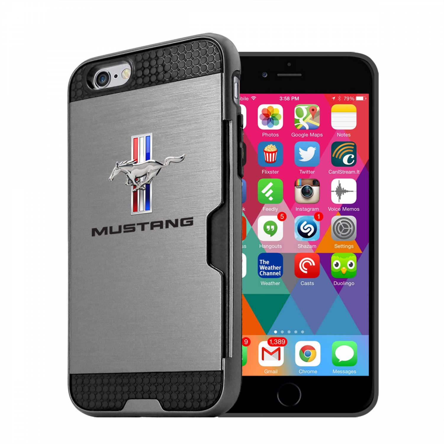 Ford Mustang Tri-Bar iPhone 6 6s Ultra Thin TPU Silver Phone Case with Credit Card Slot Wallet