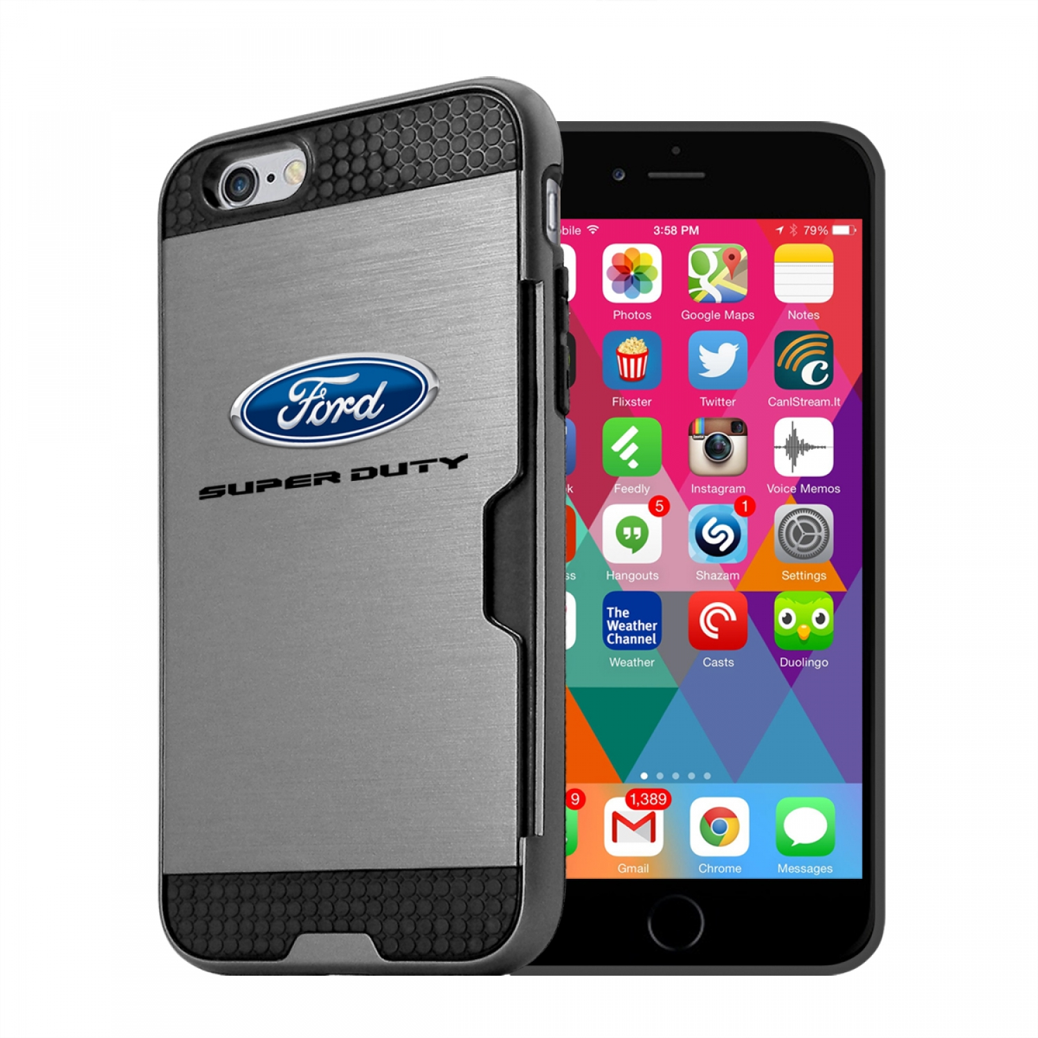 Ford Super Duty iPhone 6 6s Ultra Thin TPU Silver Phone Case with Credit Card Slot Wallet