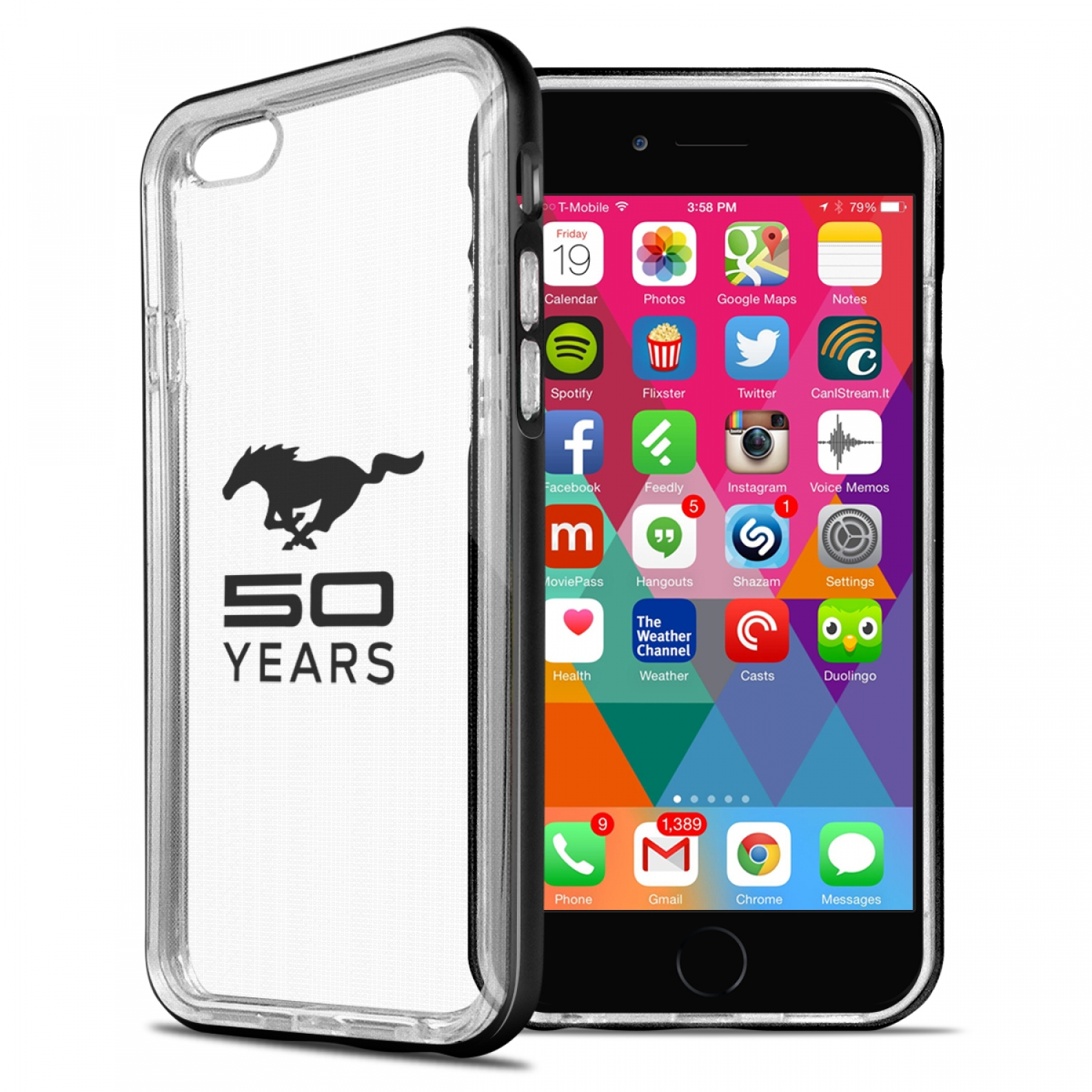 Ford Mustang 50 Years iPhone 6 6s Shockproof Clear TPU Case with Black Metal Bumper Hybrid Phone Case