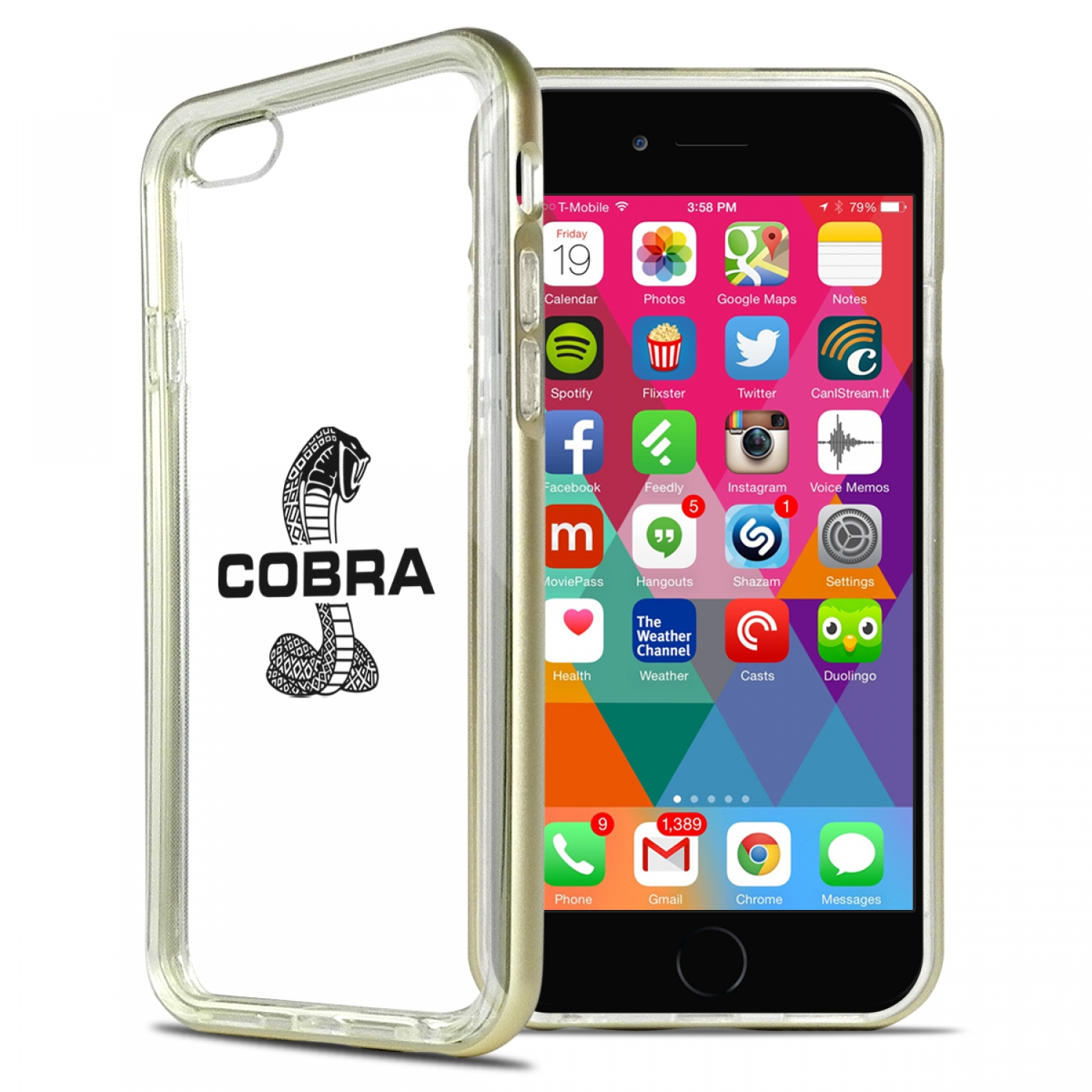 Ford Mustang Cobra iPhone 6 6s Shockproof Clear TPU Case with Gold Metal Bumper Hybrid Phone Case