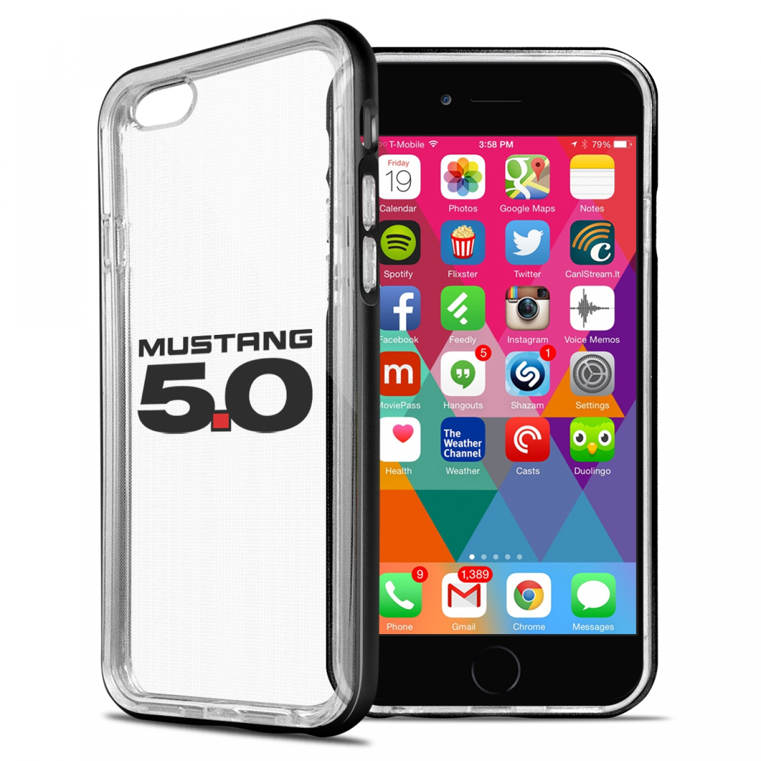 Ford Mustang GT 5.0 iPhone 6 6s Shockproof Clear TPU Case with Metal Bumper Hybrid Phone Case
