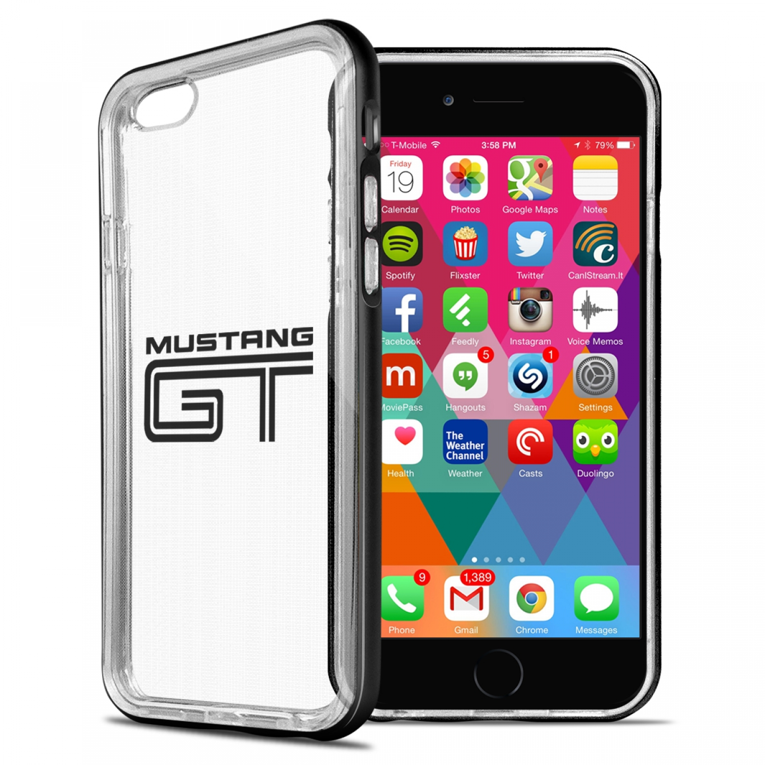 Ford Mustang GT iPhone 6 6s Shockproof Clear TPU Case with Metal Bumper Hybrid Phone Case