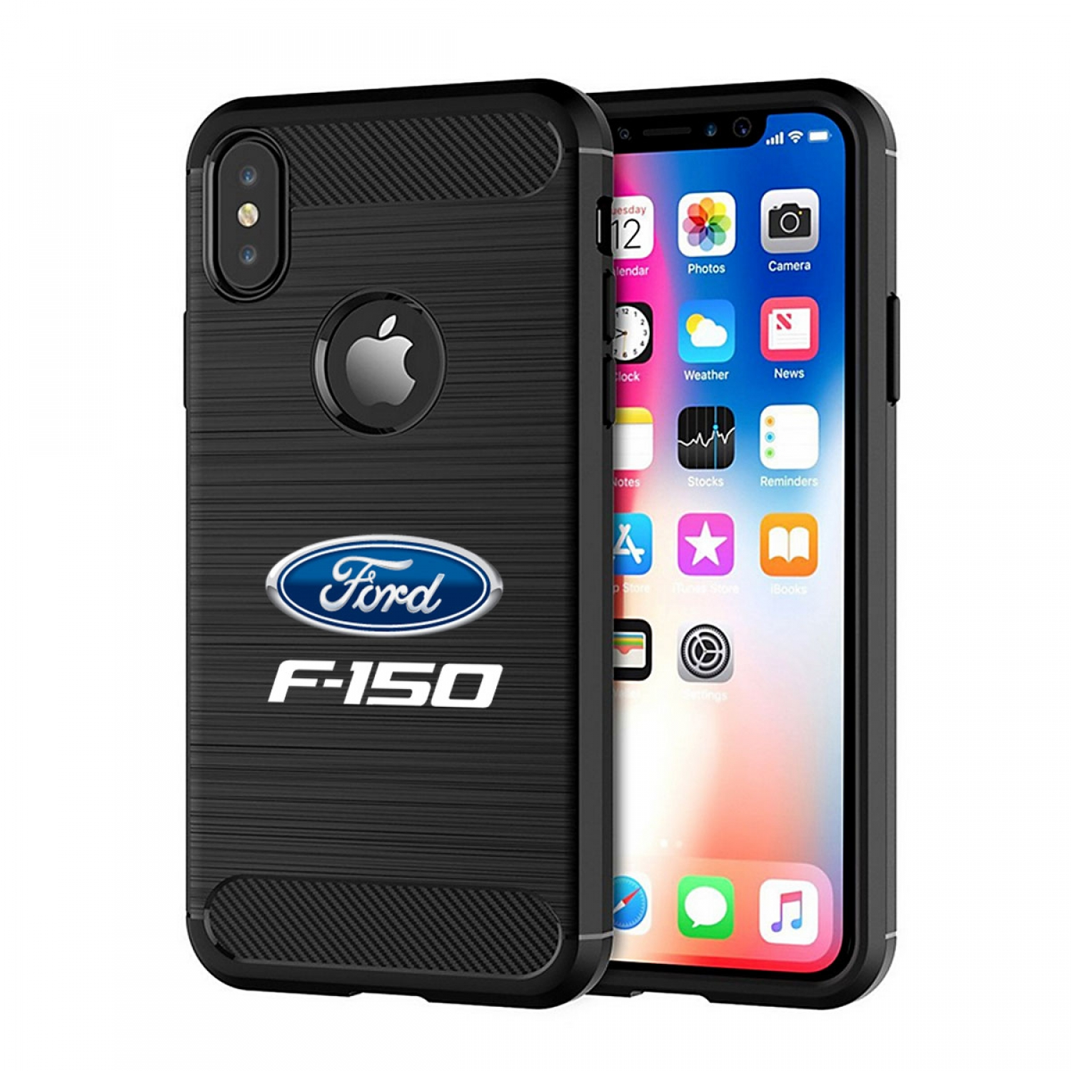Ford F-150 iPhone X TPU Shockproof Black Carbon Fiber Textures Stripes Cell Phone Case