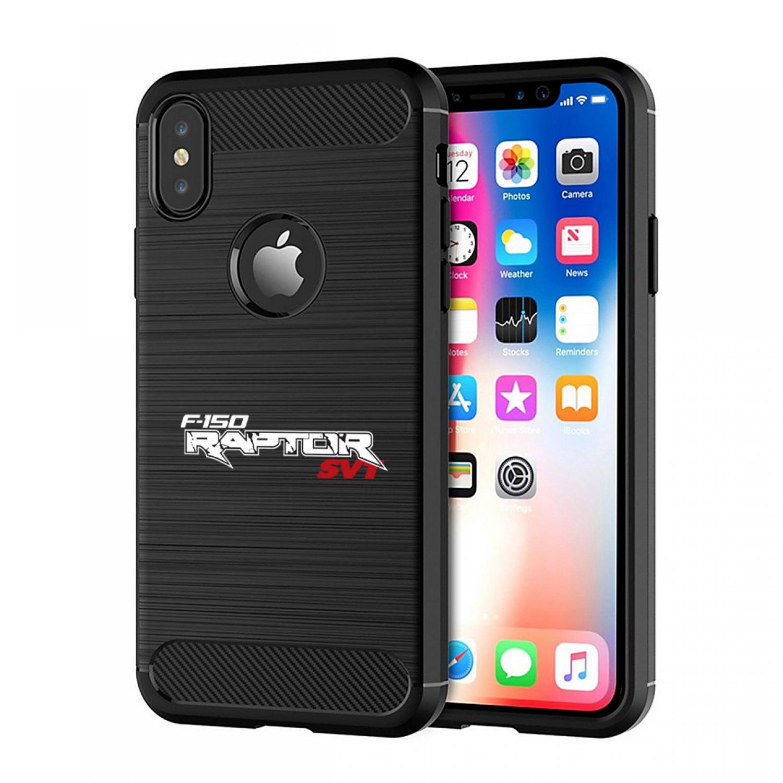 Ford F-150 Raptor SVT iPhone X TPU Shockproof Black Carbon Fiber Textures Stripes Cell Phone Case