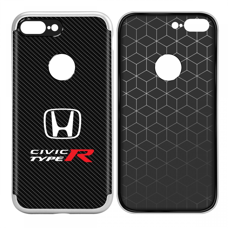 iPhone 7 Plus Case, Honda Civic Type-R Shockproof Black Carbon Fiber Textures Cell Phone Case
