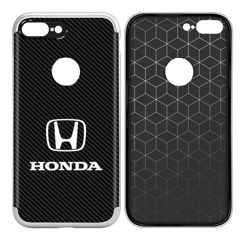 iPhone 7 Plus Case, Honda Logo Shockproof Black Carbon Fiber Textures Cell Phone Case