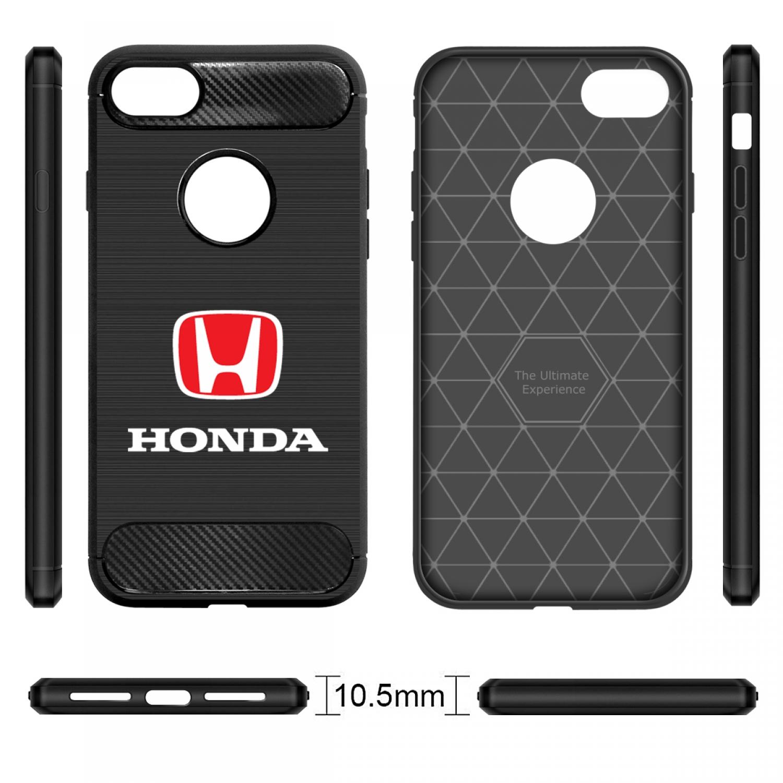 iPhone 7 Plus Case, Honda Red Logo Shockproof Black Carbon Fiber Textures Stripes Cell Phone Case
