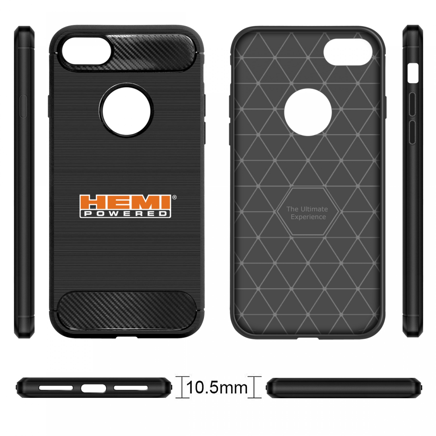 iPhone 7 Case, HEMI Powered Black TPU Shockproof Carbon Fiber Textures Cell Phone Case