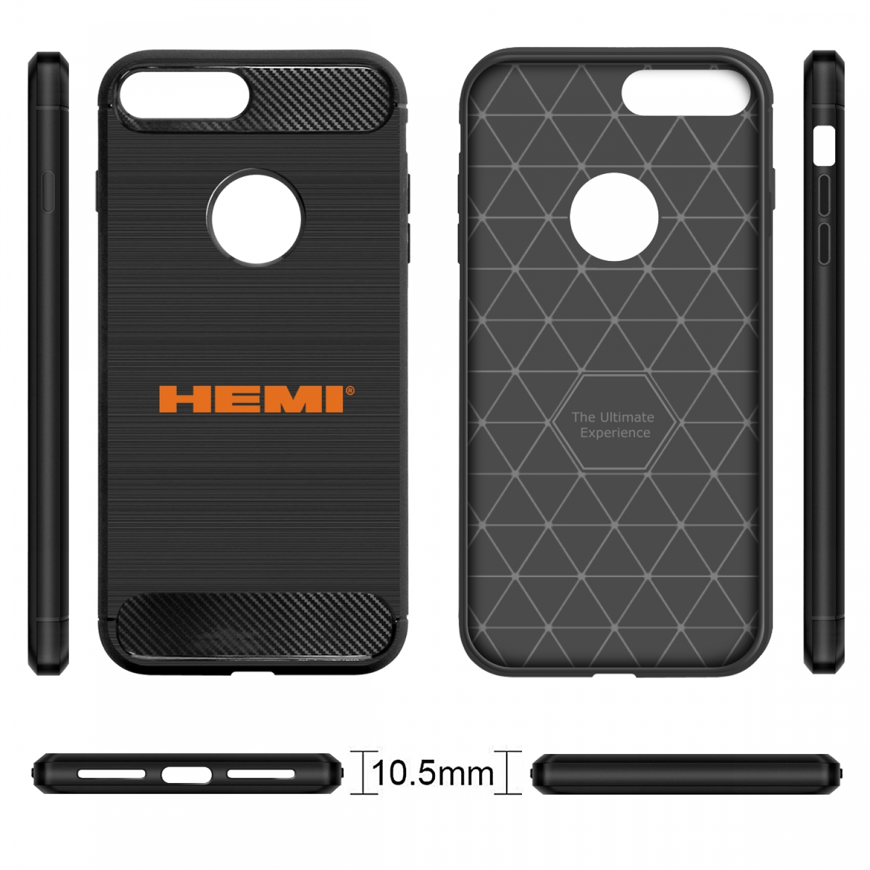 iPhone 7 Plus Case, HEMI Logo Black TPU Shockproof Carbon Fiber Textures Cell Phone Case