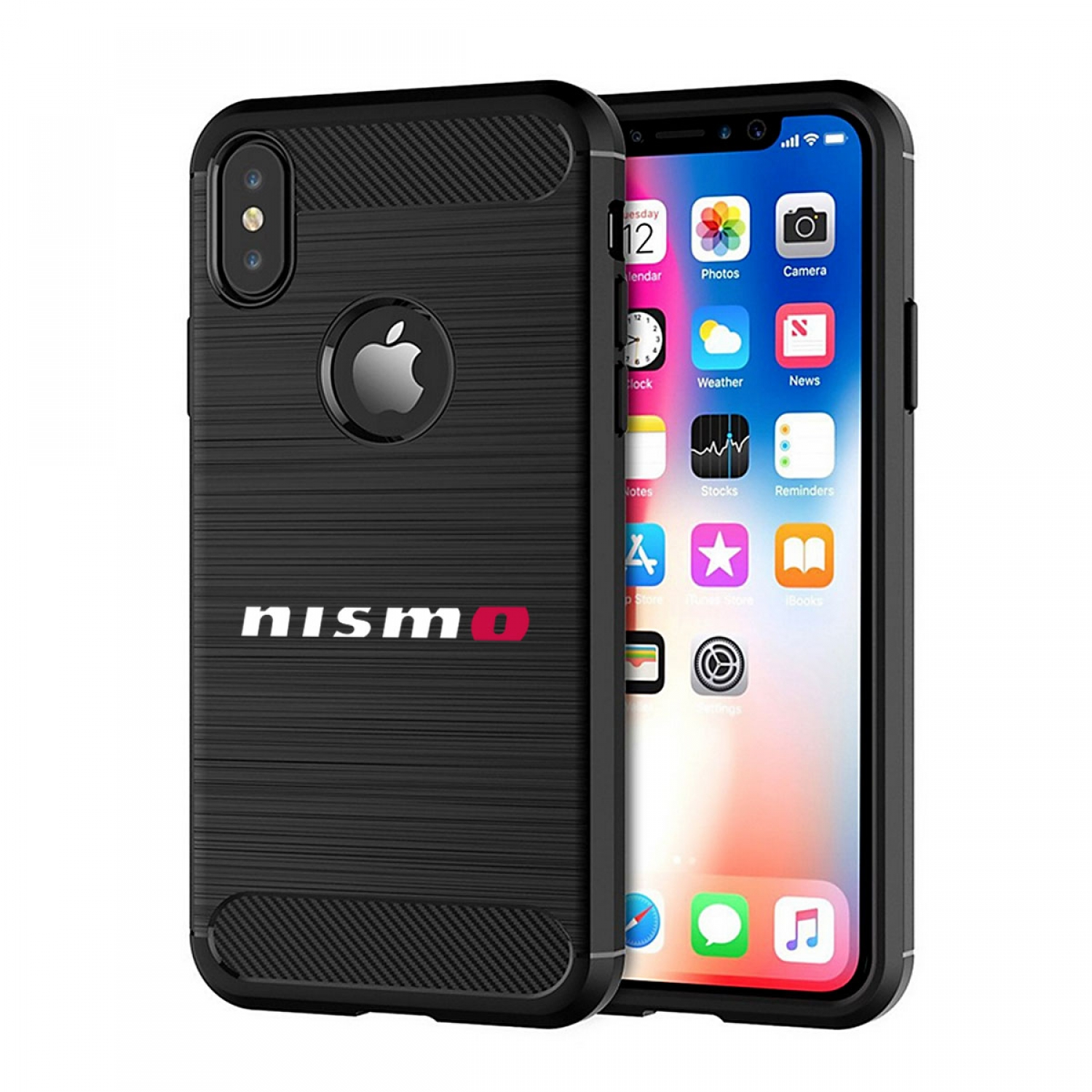 Nissan NISMO iPhone X TPU Shockproof Black Carbon Fiber Textures Stripes Cell Phone Case