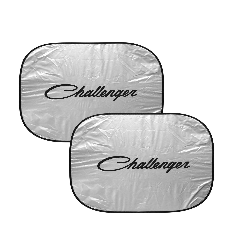 "Dodge Challenger Classic Logo Dual Panels 2-28"" W x 24"" L Easy Folding Windshield Sun Shade"