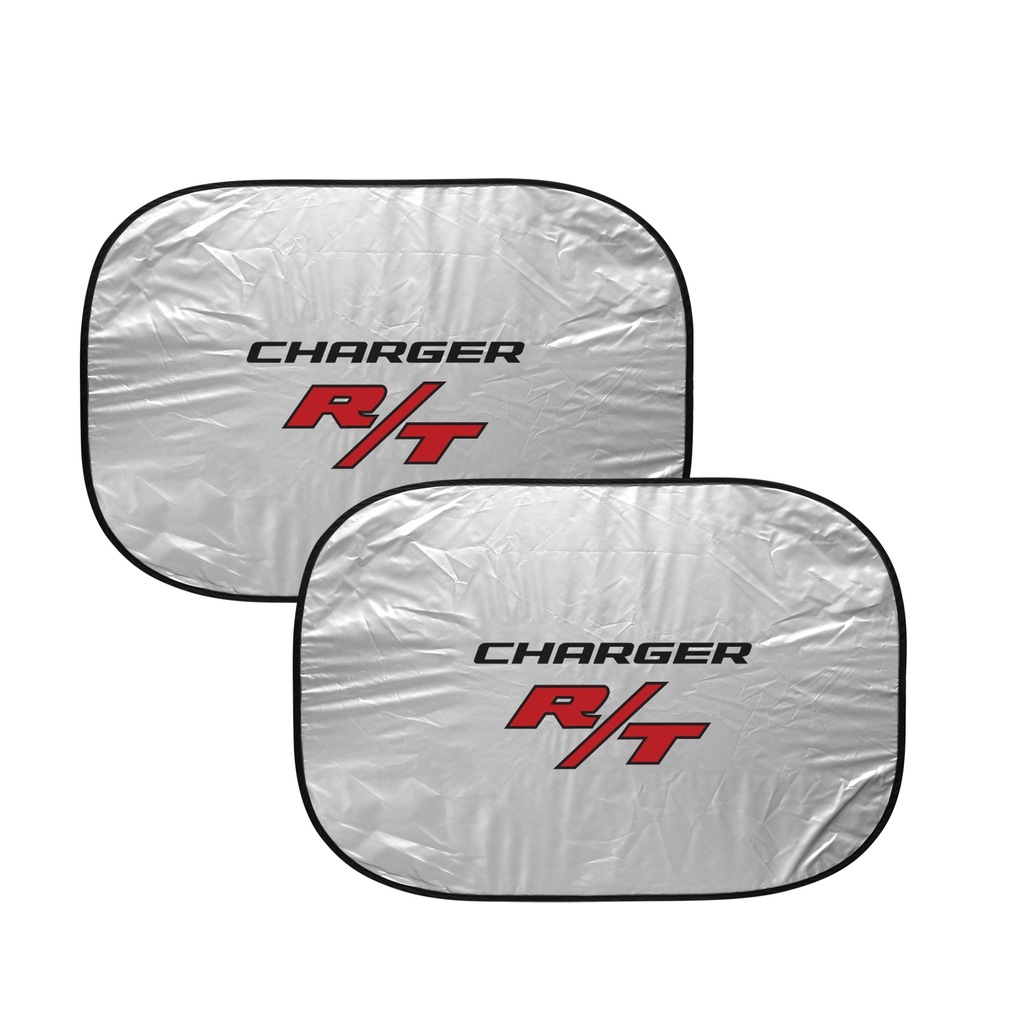 """Dodge Charger R/T Logo Dual Panels 2-28"""" W x 24"""" L Easy Folding Windshield Sun Shade"""