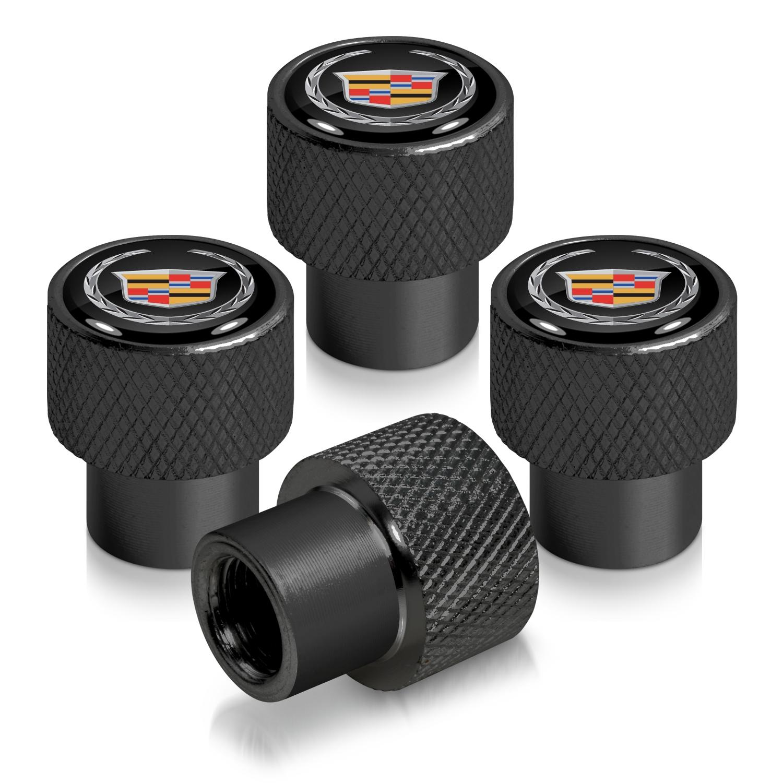 Cadillac Logo in Black on Black Aluminum Tire Valve Stem Caps