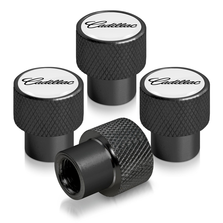Cadillac Script Nameplate in Black on Black Aluminum Tire Valve Stem Caps