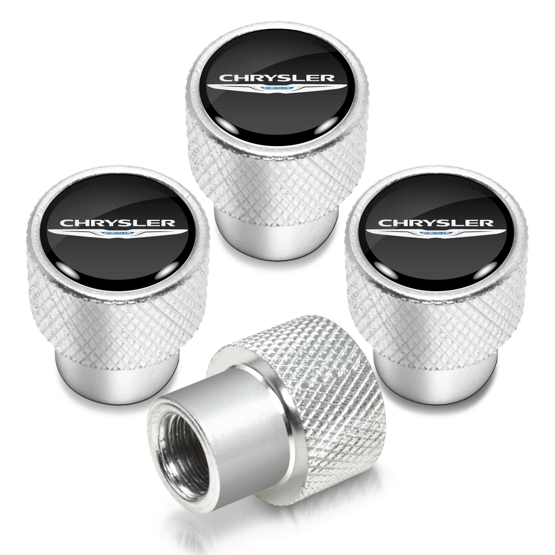 Chrysler Logo in Black on Shining Silver Aluminum Tire Valve Stem Caps