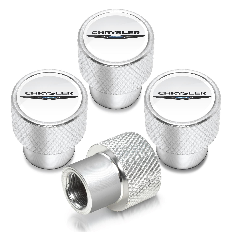 Chrysler Logo in White on Shining Silver Aluminum Tire Valve Stem Caps