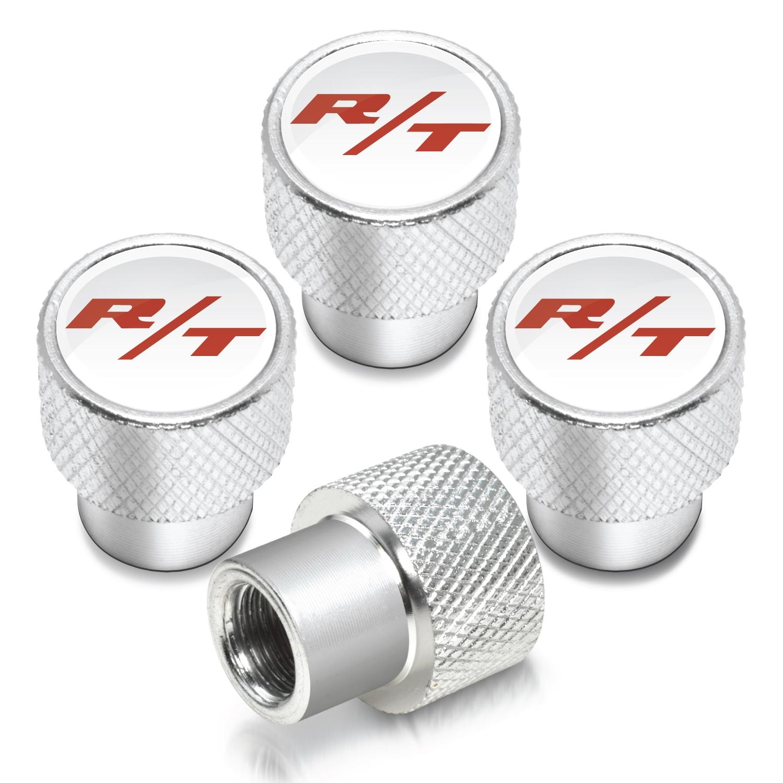 Dodge R/T Logo in White on Shining Silver Aluminum Tire Valve Stem Caps
