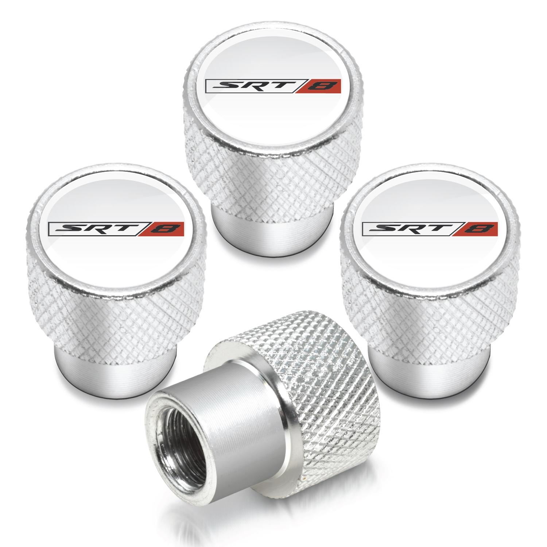 SRT-8 Logo in White on Shining Silver Aluminum Tire Valve Stem Caps for Dodge Jeep RAM