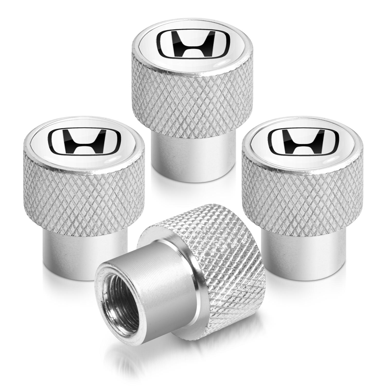 Honda Logo in White on Shining Silver Aluminum Tire Valve Stem Caps