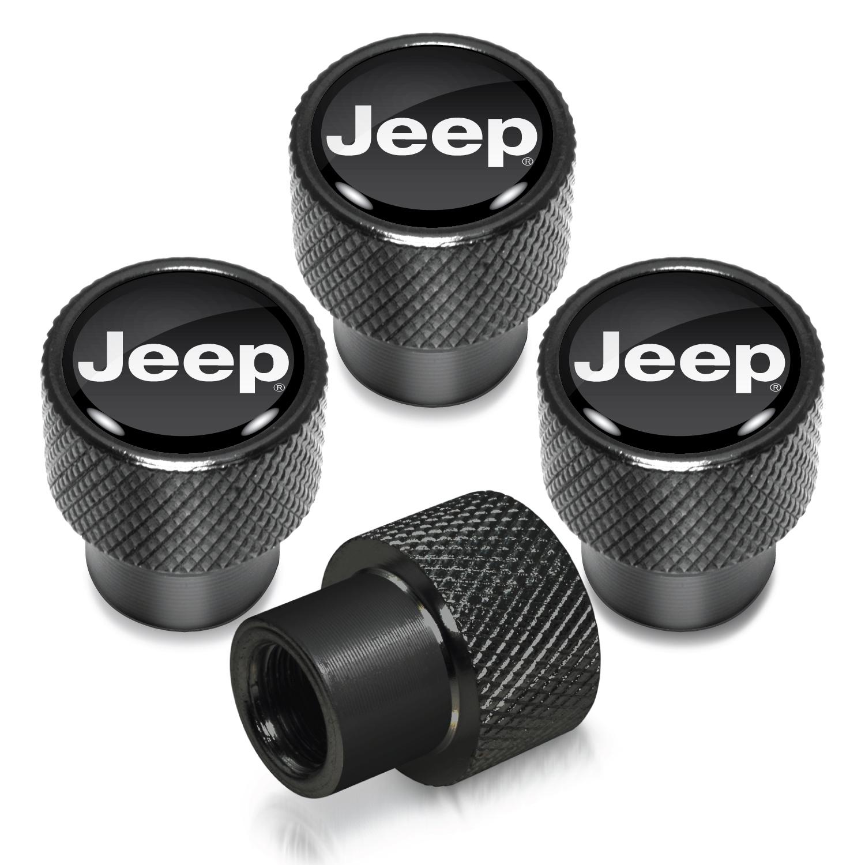 Jeep in Black on Black Aluminum Tire Valve Stem Caps