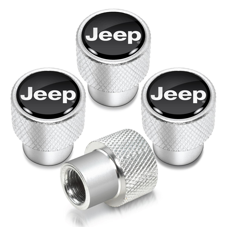 Jeep in Black on Shining Silver Aluminum Tire Valve Stem Caps